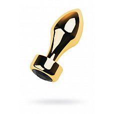 Золотистая каплевидная анальная пробка с чёрным кристаллом - 9,5 см.  Золотистая втулка-пуля среднего размера со стразом.