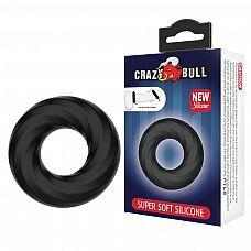 Чёрное эластичное эрекционное кольцо Super Soft  Чёрное эластичное эрекционное кольцо Super Soft.