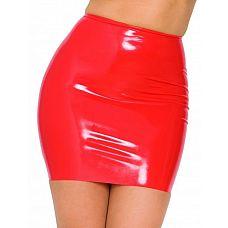 Красная бесшовная юбка из латекса  Юбка изготовлена из бесшовного латекса.