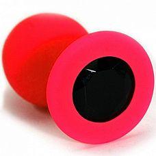 Красная анальная втулка с чёрным кристаллом - 7,3 см.  Гладенькая силиконовая пробка с кристаллом в ограничительном основании.