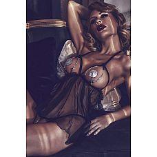 Откровенная сорочка с декоративными цепочками Lilith  Черная эротическая сорочка из тюля с открытым лифом и контактные стринги Lilith.