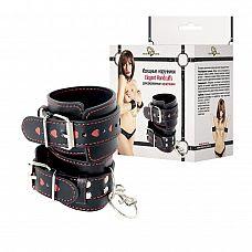 Чёрные наручники с красными сердечками на манжетах  Это стильный, удобный и безопасный аксессуар.