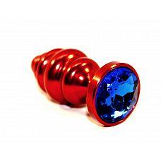 Красная фигурная пробка с синим стразом - 7,3 см.  Анальная пробка ярко красного цвета с ярким кристаллом внесет разнообразие в вашу интимную жизнь.