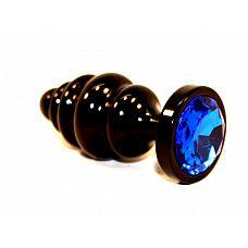 Чёрная пробка с синим стразом - 7,3 см.  Анальная пробка брутально черного цвета с ярким кристаллом внесет разнообразие в вашу интимную жизнь.