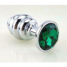 Серебристая фигурная анальная пробка с зеленым стразом - 8 см.  Анальная пробка под серебро с ярким кристаллом внесет разнообразие в вашу интимную жизнь.