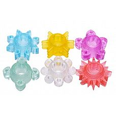 Набор из 6 разноцветных эрекционных колец Enhance 6 Piece Cock Ring Set  Набор из ярких эрекционных колец.