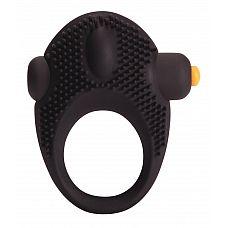 Чёрное эрекционное кольцо с вибрацией Vibrating Cock Ring  Черное виброкольцо с маленькими точками для дополнительной стимуляции клитора и съемной вибропулей с 7 режимами вибрации.