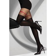 Колготки Hreiama с рисунком в виде ленточки  Колготки с рисунком, швы плоские, уплотненный невидимый носок, низ колгот более плотный - 60 DEN.