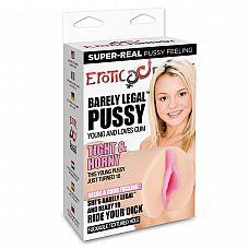Мастурбатор-вагина BARELY LEGAL PUSSY  Компактный ручной мастурбатор в виде вагины, обеспечивающий повышенную чувствительность от процесса благодаря особому рельефу внутреннего канала.