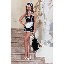 Платье чувственной горничной  Костюм горничной: платье черное с фартуком, отделка - кружево и розовые бантики, головной убор.