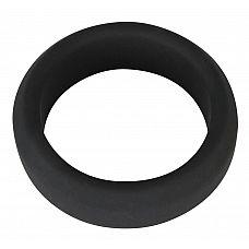 Чёрное эрекционное кольцо из силикона  Эрекционное кольцо, малоэластичное.