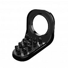 Чёрное эрекционное кольцо с щеточкой  Эрекционное кольцо на пенис со стимулятором клитора.
