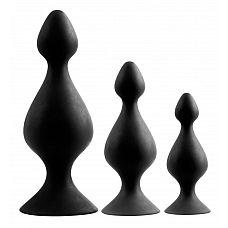 Набор из 3 анальных плагов Butt Plug Set  Набор из черных анальных втулок идеально подойдет как для первого знакомства с анальным сексом, так и для использования на более продвинутом уровне.