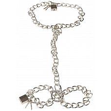 Фиксация на шею и запястья в виде цепей с замочками Bad Kitty Metal collar and chain  Фиксация на шею и запястья в виде цепей с замочками Bad Kitty Metal collar and chain.