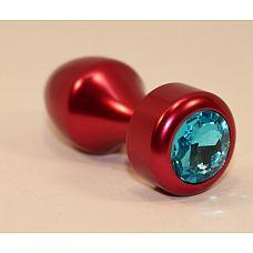 Красная анальная пробка с голубым кристаллом - 7,8 см.  Анальная пробка с ярким кристаллом внесет разнообразие в вашу интимную жизнь.