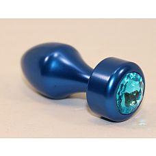 Синяя анальная пробка с голубым кристаллом - 7,8 см.  Анальная пробка с ярким кристаллом внесет разнообразие в вашу интимную жизнь.