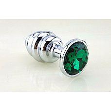 Серебристая рифлёная пробка с зеленым кристаллом - 9 см.  Анальная пробка с ярким кристаллом внесет разнообразие в вашу интимную жизнь.