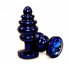 Синяя рифлёная пробка с синим кристаллом - 7,3 см.  Анальная пробка небесно синего цвета с ярким кристаллом внесет разнообразие в вашу интимную жизнь.