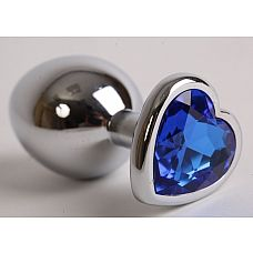 Серебристая анальная пробка с синим кристаллом-сердцем - 9 см.  Анальная пробка под серебро с ярким кристаллом в форме сердечка внесет разнообразие в вашу интимную жизнь.