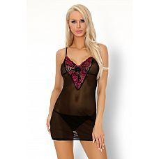 Полупрозрачная сорочка Loritan с ярким кружевом на лифе  Короткая, полупрозрачная сорочка, верх изделия украшен ярким кружевом.