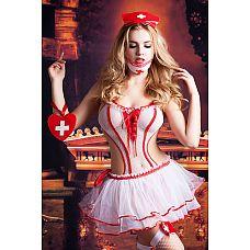 Костюм медсестры Lola  Боди выполнено из сетки с контрастной отделкой.