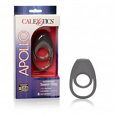 Двойное эрекционное кольцо с вибрацией Apollo Rechageable Support Ring  Двойное эрекционное кольцо с вибрацией Apollo Rechageable Support Ring - качественный силиконовый девайс для максимального удовольствия обоих партнеров.