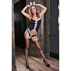 Соблазнительный черно-белый костюм зайки  В костюме зайки от Elawin Вы сможете воплотить мечту любого мужчины, сойдя к нему с глянцевых страниц журнала Playboy.