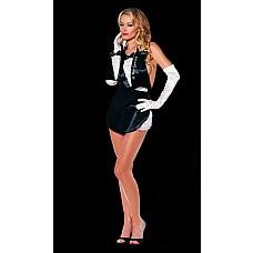 Ролевой костюм Горничная  Изящный черный фартучек с широкой завязкой-ленточкой на спине и трусиками с оборками.