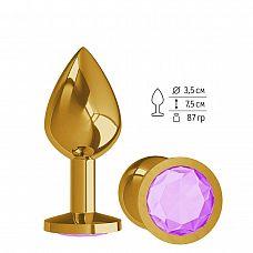 Золотистая средняя пробка с сиреневый кристаллом - 8,5 см.  Гладенькая металлическая пробка с кристаллом в ограничительном основании.