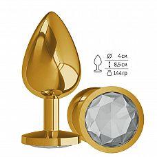Золотистая большая анальная пробка с прозрачным кристаллом - 9,5 см.  Гладенькая металлическая пробка с кристаллом в ограничительном основании.