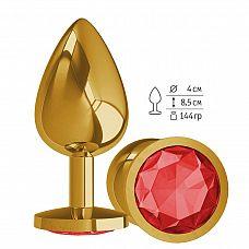 Золотистая большая анальная пробка с красным кристаллом - 9,5 см.  Гладенькая металлическая пробка с кристаллом в ограничительном основании.
