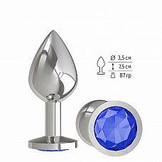 Серебристая средняя пробка с синим кристаллом - 8,5 см.  Гладенькая металлическая пробка с кристаллом в ограничительном основании.