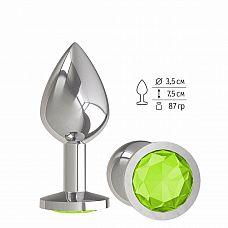Серебристая средняя пробка с лаймовым кристаллом - 8,5 см.  Гладенькая металлическая пробка с кристаллом в ограничительном основании.