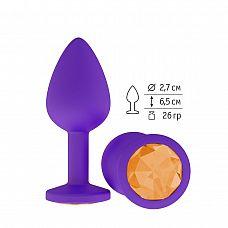 Фиолетовая силиконовая пробка с оранжевым кристаллом - 7,3 см.  Гладенькая силиконовая пробка с кристаллом в ограничительном основании.