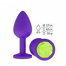 Фиолетовая силиконовая пробка с лаймовым кристаллом - 7,3 см.  Гладенькая силиконовая пробка с кристаллом в ограничительном основании.
