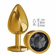 Золотистая большая анальная пробка с чёрным кристаллом - 9,5 см.  Гладенькая металлическая пробка с кристаллом в ограничительном основании.