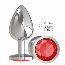 Серебристая большая анальная пробка с красным кристаллом - 9,5 см.  Гладенькая металлическая пробка с кристаллом в ограничительном основании.