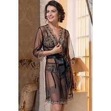 Короткий эффектный пеньюар Janetta из сетки  Короткий эффектный халат Janetta из черной сетки в стиле «нюд».