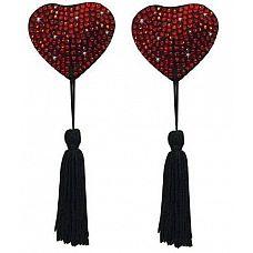 Пэстисы в форме сердца с кисточками  Пэстисы в форме сердца с кисточками. Украшены мелкими стразиками.