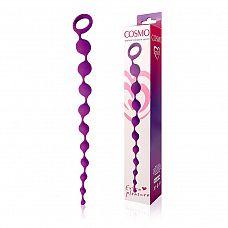 Фиолетовая фигурная анальная цепочка Cosmo - 32 см.  Интимный аксессуар состоит из нескольких элементов и выполнен в форме классической анальной «елочки», что способствует легкому и комфортному введению.