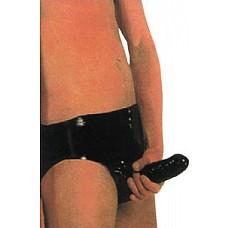 Мужские трусики из латекса с полостью для полового члена и внутренней анальной пробочкой Peni Pants  Трусы мужские латексные черного цвета со встроенной полостью для фаллоса снаружи и анальным стимулятором-пробкой внутри.