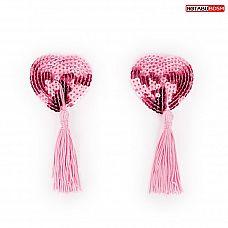 Розовые текстильные пестисы в форме сердечек с кисточками  Пэстисы в форме сердца с кисточками. Украшены мелкими пайетками.