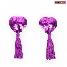 Фиолетовые текстильные пестисы в форме сердечек с кисточками  Пэстисы в форме сердца с кисточками. Украшены мелкими пайетками.