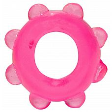 Розовое эрекционное кольцо с шишечками  Мягкое эрекционное кольцо на пенис. Очень эластичное.