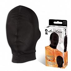 Глухая маска на лицо LUX FETISH LF6008  Плотная эластичная тянущаяся маска на голову черного цвета из материала с добавлением хлопка.