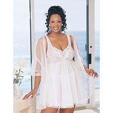 Романтическое платье беби-долл с шифоновым пеньюаром  Романтическое платье беби-долл на бретелях изготовлено из нежного нейлона в сочетании с эластичным кружевом.