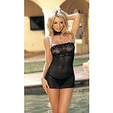 Сексуальное платье с воротничком   Стрeйчевое платье выполнено из сетчатой ткани и кружева, украшено нитями со стразами.