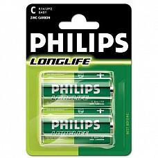 Батарейки C Philips Longlife R14 2 шт  Батарейка-бочонок типа С Philips, алкалиновые.