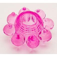 Розовое гелевое эрекционное кольцо (ToyFa 818001-3)  Гелевое кольцо с мягкими шишечками для дополнительной стимуляции стенок влагалища и клитора. <br>Насадка также легко  поможет мужчине усилить эрекцию и продлить половой акт. <br>Надевается насадка под головку или основание полового члена.