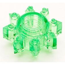 Зеленое эрекционное кольцо из гелия (Toyfa 818002-7)  Симпатичная  силиконовая насадка, которая поможет мужчине усилить эрекцию и продлить половой акт. <br>За счет шишечек на поверхности, вы сможете воздействовать на клитор вашей партнерши настолько сильно, что буквально за считанные минуты ее тело пронзит яркий незабываемый оргазм. <br><br>  Способы применения:<br>  1. Одевается под венец головки полового члена. Действие - стимуляция стенок влагалища.<br>  2. Одевается на основание полового члена. Действие - вызывает более стойкую эрекцию, продлевает половой акт, стимулирует вход во влагалище.
